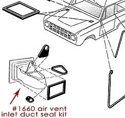 Air Vent Inlet Duct Seal Kit for Driver Vent Box, 66-77 Bronco, New