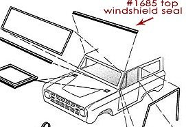 Top Windshield Frame Seal, 66-77 Ford Bronco, New