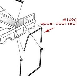 Upper Door Seals - OE QUALITY, 66-77 Ford Bronco, New (per pair)