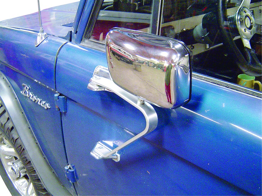 New Ford Bronco >> Stainless Fold-Away Side Mirrors, 66-77 / 78-79 Ford Bronco, Pair, New - Toms Bronco Parts