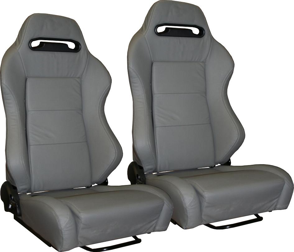 Style Bucket Seats, Gray Leather, 66-77 Early Ford Bronco, New, pair