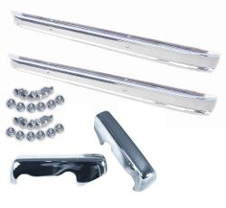 Two Chrome Bumpers, Bumperettes, and Bolt Kits, 66-77 Ford Bronco, COMPLETE KIT!