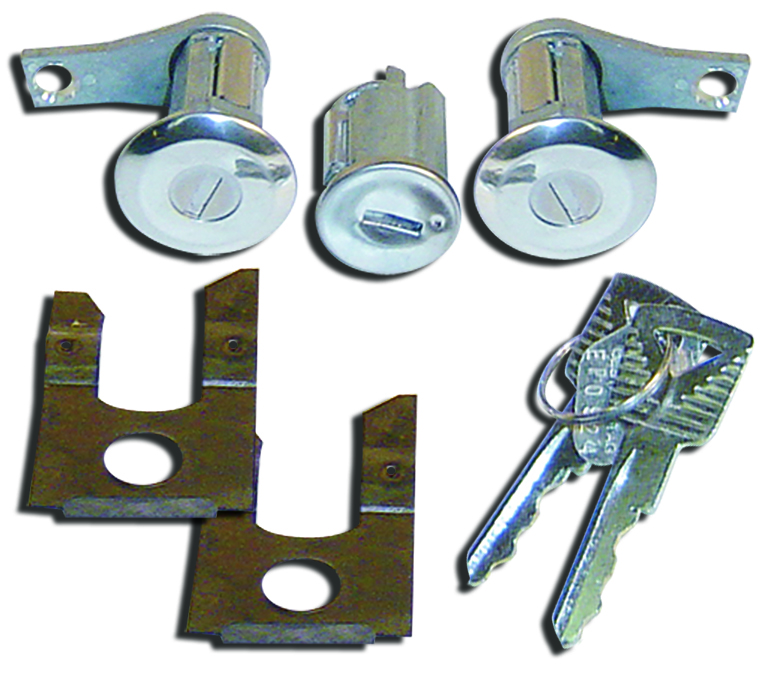 Door Lock Set w/Matching Ignition Cylinder & Keys, 1961-1966 Ford Trucks, New-tbp