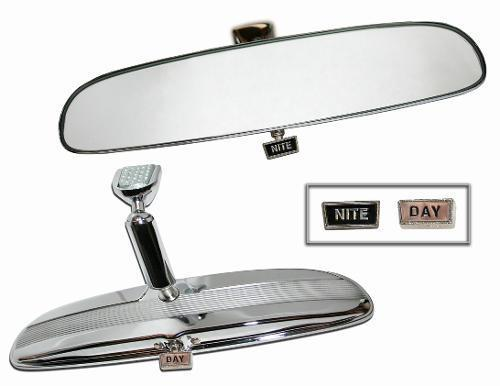 Chrome Day/Night Rear View Mirror, 66-77 Ford Bronco, Includes Glue Kit & Tab, New *In Stock Now*