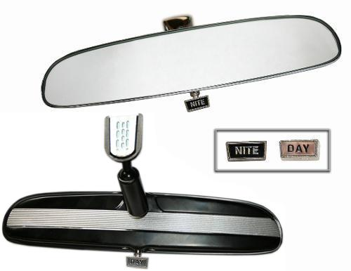 Rear View Mirror, BLACK w/Silver - Day/Night, New 66-77 Ford Bronco