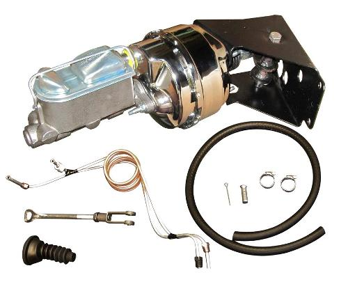 Power Brake Kit w/Chrome Booster - No Modify Conversion w/ Disc Lines, 66-77 Early Ford Bronco, New