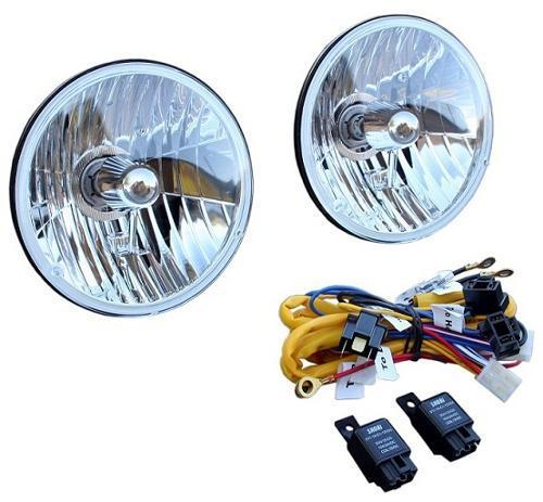 H4 Halogen Headlight Conversion w/Heavy Duty Wiring Harness Kit, 66-77 Ford Bronco, New