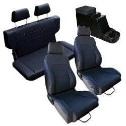 Complete Set Custom Seats w/Center Console, Black, 66-77 Ford Bronco**