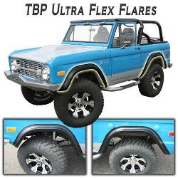 TBP Ultra-Flex Early Bronco Fender Flares for 66-77 Ford Bronco, Full Set, Smooth Black