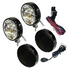 Diamond Cut Off-Road Lights w/Black Housing, 66-77 Ford Bronco, New, pair
