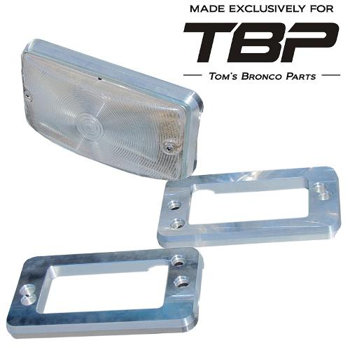 Billet Aluminum Turn Signal Pads/Bezels - 69-77 Ford Bronco, New, pair TBP EXCLUSIVE