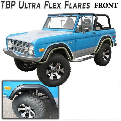 TBP Ultra-Flex Early Bronco Fender Flares for 66-77 Ford Bronco, FRONT ONLY Smooth Black
