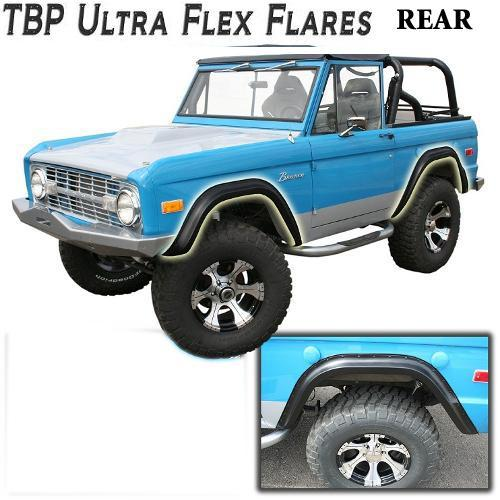 TBP Ultra-Flex Early Bronco Fender Flares for 66-77 Ford Bronco, REAR ONLY Smooth Black